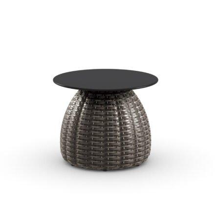 """DEDON Beistelltisch Ø 51 cm """"PORCINI"""", Aluminiumgestell mit DEDON Faser marrone, Tischplatte Monolite Ipergres® schwarz"""
