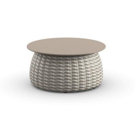 "DEDON Beistelltisch Ø 61 cm ""PORCINI"", Aluminiumgestell mit DEDON Faser carrara, Tischplatte Monolite Ipergres® taupe"