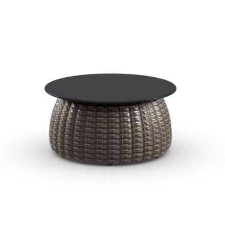 """DEDON Beistelltisch Ø 61 cm """"PORCINI"""", Aluminiumgestell mit DEDON Faser marrone, Tischplatte Monolite Ipergres® schwarz"""