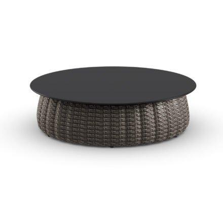 "DEDON Kaffeetisch Ø 100 cm ""PORCINI"", Aluminiumgestell mit DEDON Faser marrone, Tischplatte Monolite Ipergres® schwarz"
