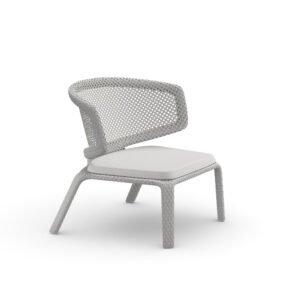 "DEDON Loungesessel ""SEASHELL"", Gestell Aluminium, DEDON Faser chalk, Sitzkissen COOL white"