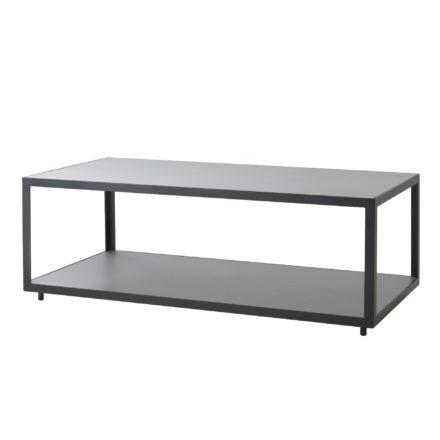 "Cane-line Loungetisch ""Level"" 122 x 62 cm, Gestell Aluminium lavagrau, Tischplatte Keramik hellgrau"