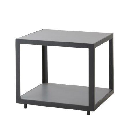 "Cane-line Loungetisch ""Level"" 48 x 48 cm, Gestell Aluminium lavagrau, Tischplatte Keramik hellgrau"