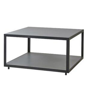 "Cane-line Loungetisch ""Level"" 79 x 79 cm, Gestell Aluminium lavagrau, Tischplatte Keramik hellgrau"