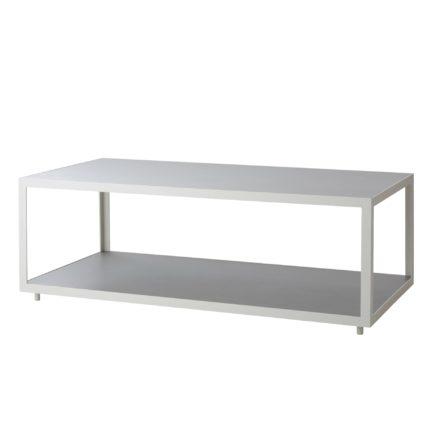 "Cane-line Loungetisch ""Level"" 122 x 62 cm, Gestell Aluminium weiß, Tischplatte Keramik hellgrau"