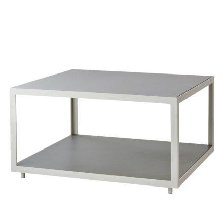"Cane-line Loungetisch ""Level"" 79 x 79 cm, Gestell Aluminium weiß, Tischplatte Keramik hellgrau"