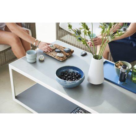 "Cane-line Loungetisch ""Level"", Gestell Aluminium weiß, Tischplatte Keramik hellgrau"