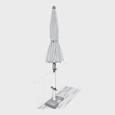 Balkon-Granitsockel, 25 kg, Befestigung am Balkongeländer, von Knirps