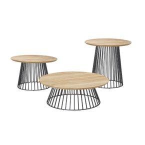 "Solpuri ""Grid"" Tische, Aluminium anthrazit, Tischplatte Teakholz"