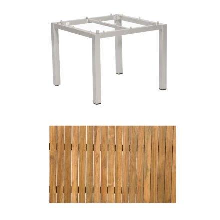 """Sonnenpartner """"Base"""" Gartentisch, Gestell Aluminium silber, Tischplatte Old Teak, Größe: 90x90 cm"""