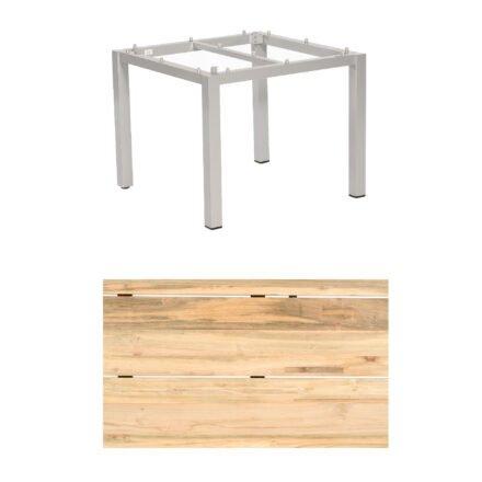 """Sonnenpartner """"Base"""" Gartentisch, Gestell Aluminium silber, Tischplatte Old Teak Natur, Größe: 90x90 cm"""