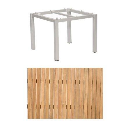 "Sonnenpartner ""Base"" Gartentisch, Gestell Aluminium silber, Tischplatte Natur Teak, Größe: 90x90 cm"
