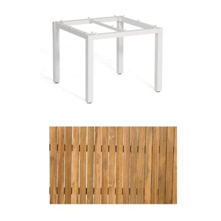 """Sonnenpartner """"Base"""" Gartentisch, Gestell Aluminium weiß, Tischplatte Old Teak, Größe: 90x90 cm"""