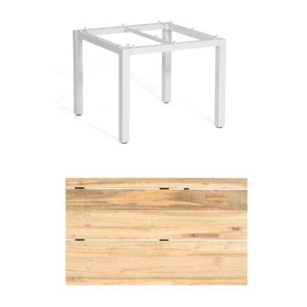 """Sonnenpartner """"Base"""" Gartentisch, Gestell Aluminium weiß, Tischplatte Old Teak Natur, Größe: 90x90 cm"""