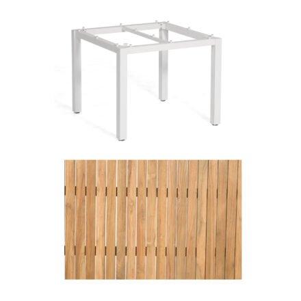 """Sonnenpartner """"Base"""" Gartentisch, Gestell Aluminium weiß, Tischplatte Natur Teak, Größe: 90x90 cm"""