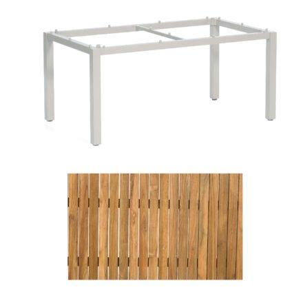 """Sonnenpartner """"Base"""" Gartentisch, Gestell Aluminium silber, Tischplatte Old Teak, Größe: 160x90 cm"""