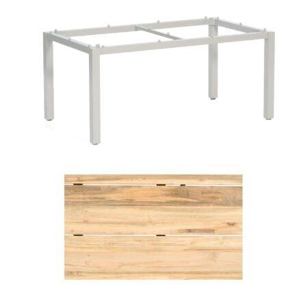 """Sonnenpartner """"Base"""" Gartentisch, Gestell Aluminium silber, Tischplatte Old Teak Natur, Größe: 160x90 cm"""