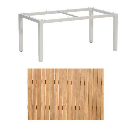 "Sonnenpartner ""Base"" Gartentisch, Gestell Aluminium silber, Tischplatte Teak Natur, Größe: 160x90 cm"