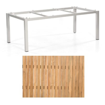 "Sonnenpartner ""Base"" Gartentisch, Gestell Aluminium silber, Tischplatte Natur Teak, Größe: 200x100 cm"