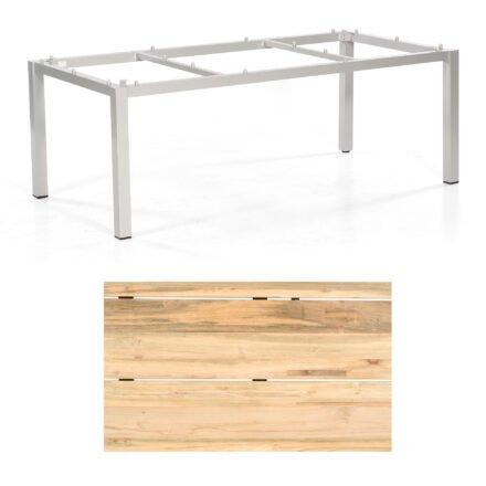 """Sonnenpartner """"Base"""" Gartentisch, Gestell Aluminium silber, Tischplatte Old Teak Natur, Größe: 200x100 cm"""