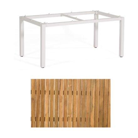 """Sonnenpartner """"Base"""" Gartentisch, Gestell Aluminium weiß, Tischplatte Old Teak, Größe: 160x90 cm"""