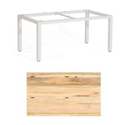 """Sonnenpartner """"Base"""" Gartentisch, Gestell Aluminium weiß, Tischplatte Old Teak Natur, Größe: 160x90 cm"""