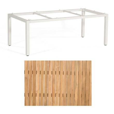 """Sonnenpartner """"Base"""" Gartentisch, Gestell Aluminium weiß, Tischplatte Teak Natur, Größe: 200x100 cm"""