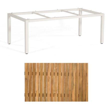 """Sonnenpartner """"Base"""" Gartentisch, Gestell Aluminium weiß, Tischplatte Old Teak, Größe: 200x100 cm"""