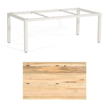 """Sonnenpartner """"Base"""" Gartentisch, Gestell Aluminium weiß, Tischplatte Old Teak Natur, Größe: 200x100 cm"""