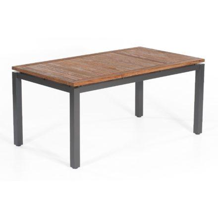 "SonnenPartner Tisch 160x90 cm ""Base"", Gestell Aluminium anthrazit, Tischplatte Select old teak"