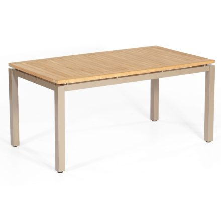 "SonnenPartner Tisch 160x90 cm ""Base"", Gestell Aluminium champagner, Tischplatte Pure natur teak"