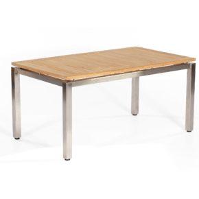 "SonnenPartner Tisch 160x90 cm ""Base"", Gestell Edelstahl vierkant, Tischplatte Pure Natur Teak"