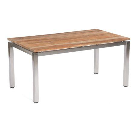 "SonnenPartner Tisch 160x90 cm ""Base"", Gestell Edelstahl vierkant, Tischplatte Solid Old Teak natur"
