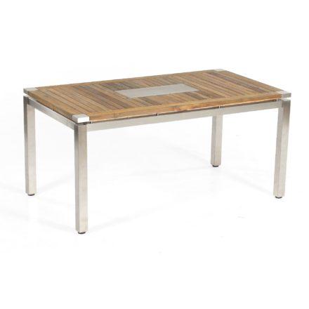 """SonnenPartner Tisch 160x90 cm """"Base"""", Gestell Edelstahl vierkant, Tischplatte Style Old Teak mit Edelstahleinlage"""