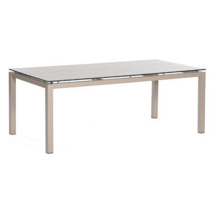 "SonnenPartner Tisch 200x100 cm ""Base"", Gestell Aluminium champagner, Tischplatte HPL eiche sägerau"