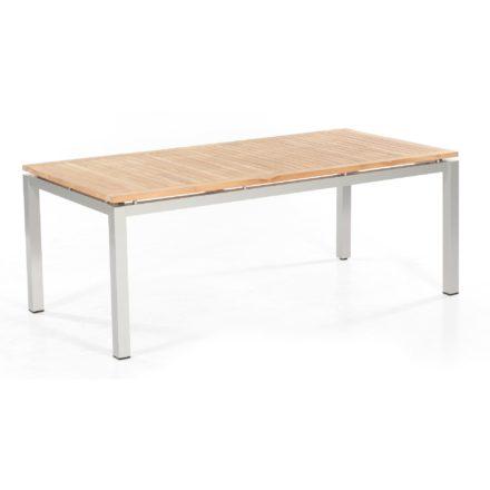 """SonnenPartner Tisch 200x100 cm """"Base"""", Gestell Aluminium silber, Tischplatte Pure natur teak"""