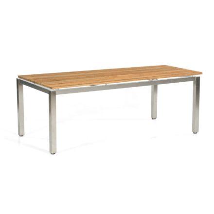 "SonnenPartner Tisch 200x100 cm ""Base"", Gestell Edelstahl vierkant, Tischplatte Solid Old Teak natur"