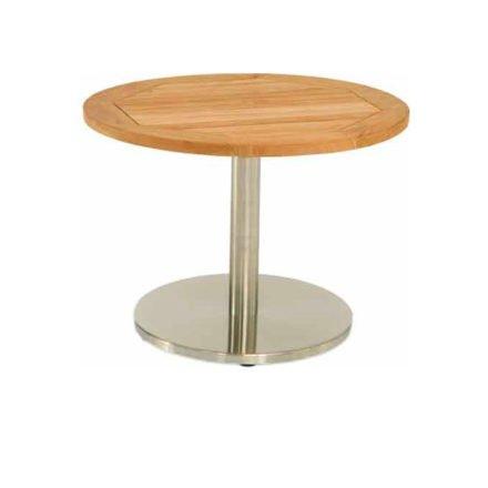 Stern Beistelltisch, Gestell Aluminium in Edelstahloptik, Tischplatte Teakholz rund