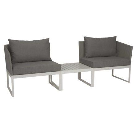 """City-Lounge """"Donna"""" von Stern, Gestell Aluminium weiß, Textilgewebe silber, Kissen seidengrau"""