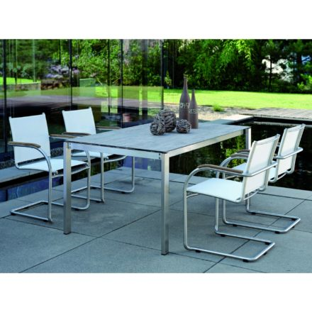 Stern Gartenmöbel-Set mit Freischwinger Mali und Gartentisch Edelstahl/HPL