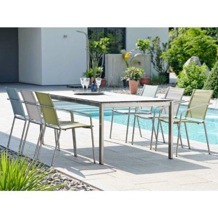 """Stern Gartenmöbel-Set mit Stuhl """"Mara"""" und Gartentisch Edelstahl/HPL Vintage grau"""