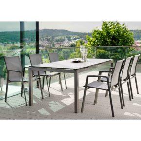 """Stern Gartenmöbel-Set mit Stuhl """"New Top"""" und Gartentisch Aluminium/HPL Zement"""