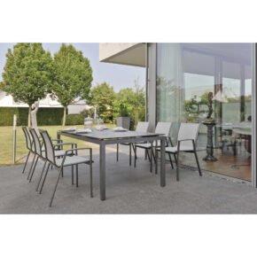 """Stern Gartenmöbel-Set mit Stuhl """"Ron"""" und Gartentisch Aluminium/ HPL Zement"""