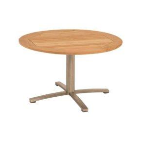 Stern Gartentisch, Gestell Edelstahl, Tischplatte Teakholz rund