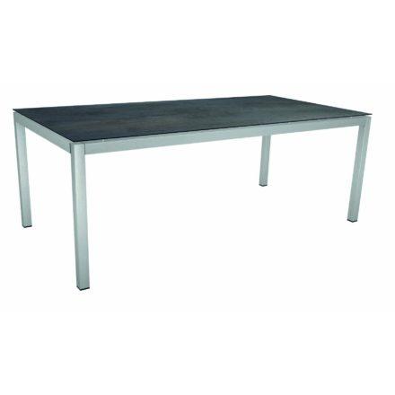 Stern Gartentisch, Gestell Edelstahl Vierkant, Tischplatte HPL Nitro, Größe: 200x100 cm