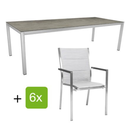 "Stern Gartenmöbel-Set ""Cardiff"", Gestelle Edelstahl, Sitzfläche Textilgewebe silber gepolstert, Tischplatte HPL Zement"