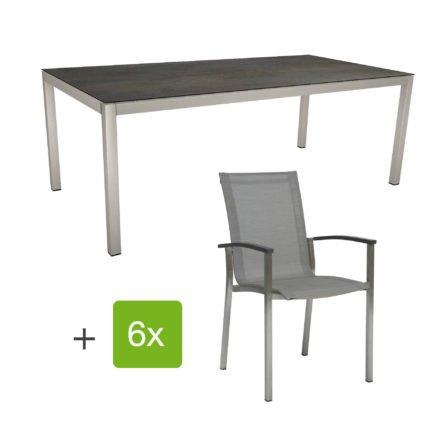 """Stern Gartenmöbel-Set """"Evoee"""", Gestelle Edelstahl, Sitzfläche Textilgewebe silberfarben, Tischplatte HPL Nitro"""