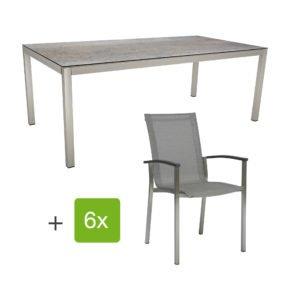 """Stern Gartenmöbel-Set """"Evoee"""", Gestelle Edelstahl, Sitzfläche Textilgewebe silberfarben, Tischplatte HPL Smoky"""