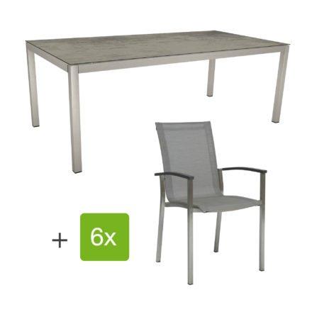 "Stern Gartenmöbel-Set ""Evoee"", Gestelle Edelstahl, Sitzfläche Textilgewebe silberfarben, Tischplatte HPL Zement"