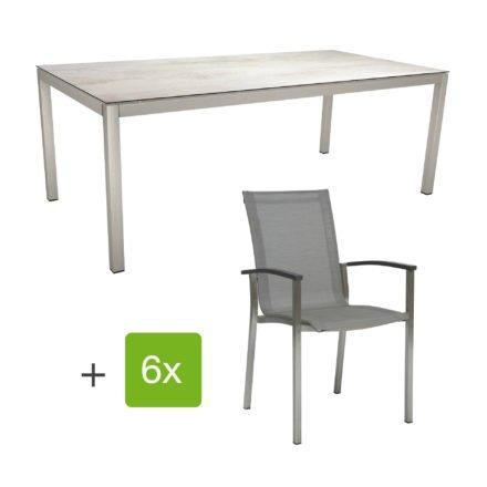 "Stern Gartenmöbel-Set ""Evoee"", Gestelle Edelstahl, Sitzfläche Textilgewebe silberfarben, Tischplatte HPL Zement hell"